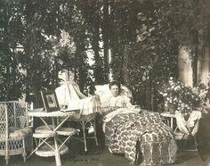 "Grand Duchess Elizaveta Mavrikievna Romanova of Russia recovering after birth of her youngest daughter, Princess Vera Konstantinovna Romanova of Russia.  ""AL'"