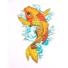 I like this coy fish, with slightly different colors, and I would add some cherry blossoms