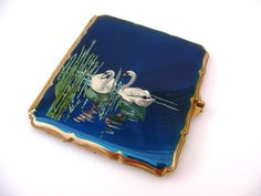 Stratton blue enamelled cigarette case by magpieretro on Etsy