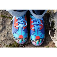 80's Leather Painted Mountain Sunset Shoes (£53) ❤ liked on Polyvore featuring shoes, 80s shoes, zebra shoes, zebra print shoes, leather footwear and colorful shoes
