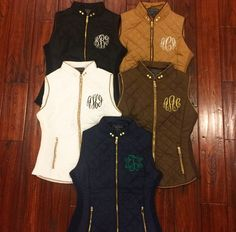 Monogram Vest  Monogrammed Quilted Vests  by TheInitialedLife