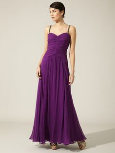 Vera Wang Lavender Label Silk Crinkle Chiffon Embellished Shoulder Strap Gown |Pinned from PinTo for iPad|
