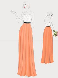 Peach Orange and White Two Tones Long Sweetheart Lace Bridesmaid Dress 1