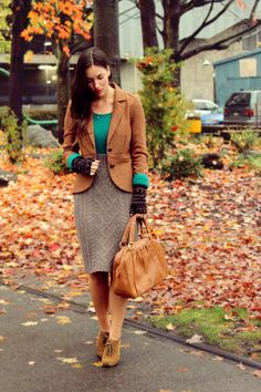 Taking office apropos silhouettes and channeling them in a very casual way.with a different colored sweater though...