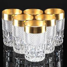 6 Vintage Bechergläser Kristall Gläser Kristallgläser Waffel Rauten Goldrand S