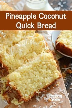 From breakfast to mid-afternoon snack to dessert, this tropical quick bread can be enjoyed all through the day. It is refreshingly light and full of coconut and pineapple flavor. Pineapple Coconut Bread, Coconut Quick Bread, Quick Bread Recipes, Sweet Recipes, Baking Recipes, Cake Recipes, Dessert Recipes, Jamaican Coconut Bread Recipe, Coconut Muffins