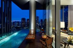 Relax against a backdrop of the Singaporian city.