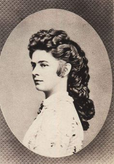 Elaborate coiffure of Empress Elisabeth of Austria, c.1862