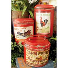 Cole & Grey Set of three farmhouse rustic tin canisters, red distressed finish with colorful vintage chicken advertisements, lids with handles. Red Canisters, Kitchen Canister Sets, Coffee Canister, Red Kitchen, Kitchen Ideas, Rooster Kitchen, Kitchen Stuff, Kitchen Designs, Kitchen Dining