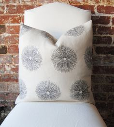 Sea Urchin - Ebony - Groundworks - Pillow Cover - 20 in square - Designer Pillow - Decorative Pillow - Throw Pillow