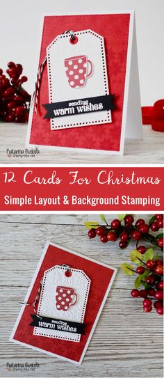 Handmade Christmas Holiday card. With very simple layout and background stamping. Using stamp sets from Clearly Besotted.  #cardmaking #HandmadeCard #SimpleCard  #ClearlyBesotted  #LilInkerDesigns #SizixTimHolzEmbossingFolders #WarmWishes #WarmSolutions #StitchedMittens #Christmas #ChristmasCard #ChristmasGift #ChristmasStocking