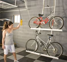 Motorized Bike Lift for Two Bikes for Easy Storage | The Innovative Garage