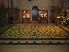 The labyrinth at Ely Cathedral. Made in 1870, the path length is 66m, the same as the height of the cathedral tower.
