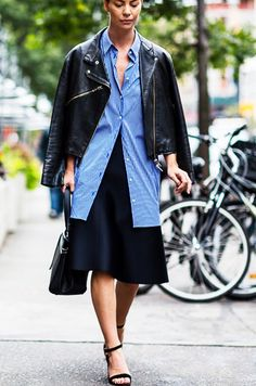 How Fashion Girls Are Wearing Their Button-Downs via @WhoWhatWear