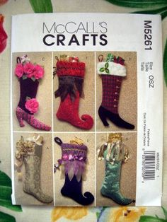 SOLD! McCall's Pattern # 5261 New UNCUT Fancy Christmas Stocking Patterns