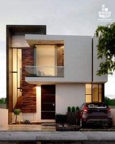 Inspiring Modern Dream House You Will Love. Designing an elegant modern dream home requires a great energy. Careful planning and seriousness in workmanship are the key to making a home. For thos. Duplex House Design, House Front Design, Small House Design, Modern House Design, Modern Architecture House, Architecture Design, Amazing Architecture, Narrow House, Minimalist House Design