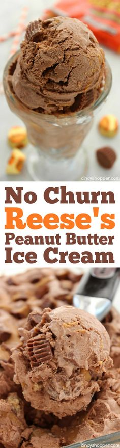 No Churn Reese's Peanut Butter Ice Cream- chocolate, peanut butter swirls and Reese's loaded into this yummy homemade cold treat. Ice Cream Desserts, Frozen Desserts, Frozen Treats, Ice Cream Treats, Mini Desserts, Frozen Cookies, Frozen Cake, Party Desserts, No Churn Ice Cream