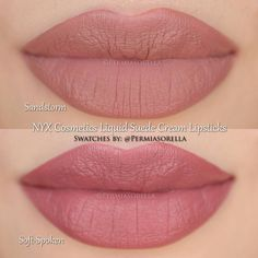 """""""The Nudes Sandstorm & Soft-Spoken @nyxcosmetics Liquid Suede Cream Lipsticks Coming this Fall ________________________________ *Photos were taken after…"""""""