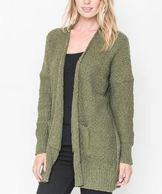 Loving this Olive Waffle-Knit Open Cardigan - Women on #zulily! #zulilyfinds