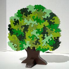 Puzzle 3D en bois fabriqués à la main arbre par PuzzledOne sur Etsy