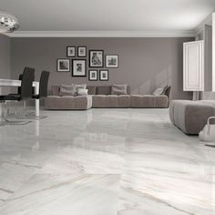 Stylish white gloss marble effect floor tiles at trade prices from Direct Tile Warehouse. See quality large floor tiles including large white floor tiles Living Room Flooring, Bedroom Flooring, Grey Flooring, Kitchen Flooring, Flooring Ideas, Kitchen Tiles, Linoleum Flooring, Marble Floor Kitchen, Tiles For Living Room