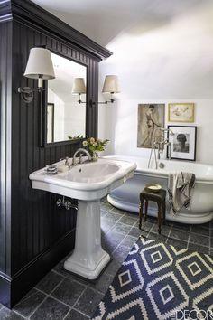 Black Master Bathroom - ELLEDecor.com