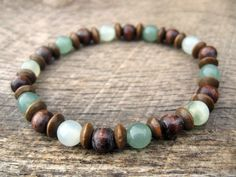 Mens surfer bracelet, jade, aventurine and wood beads, beaded stretch bracelet, new and upcycled beads, natural materials, handmade, earthy