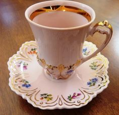 Vintage very decorative tall small Cup and Saucer set/duo. Marked H & C pink ♥