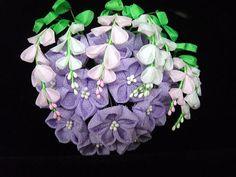 Ikuokaya September bell flower and bush clover kanzashi. Spectacular craftsmanship. 9月の萩桔梗かんざし