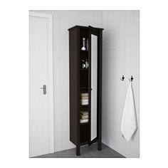"""HEMNES High cabinet with mirror door, black-brown stain - 19 1/4x12 1/4x78 3/4 """" - IKEA"""
