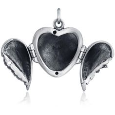 925 Sterling Silver Feather Angel Wing Heart Locket Pendant ($39) ❤ liked on Polyvore featuring jewelry, pendants, heart shaped pendant, sterling silver jewelry, angel wing locket, charm pendants and angel wing pendant