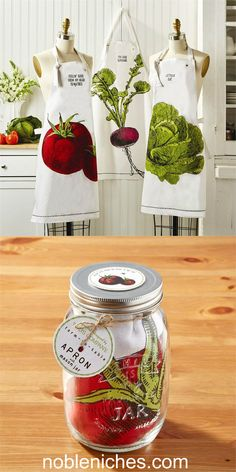 From our Farm to Table Collection, our Apron in a Mason Jar makes a great hostess gift for your favorite home cook! Comes in 3 styles: You Look Radishing, Lettuce Eat & Feeling Good Tomatoes. Mason Jar is food safe. Holds 1000ml (about 34oz). Click pic to buy at www.nobleniches.com or visit us at our shop @sardismarket in Charlotte #homecook #apron #farmersmarket #chef #tomato #lettuce #radish #masonjar #hostessgift #mothersdaygift #vegetables #cooking #nobleniches #sardismarketplace…