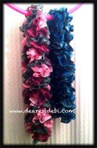Red Heart Sashay Crochet Ruffle Scarf free pattern by DearestDebi