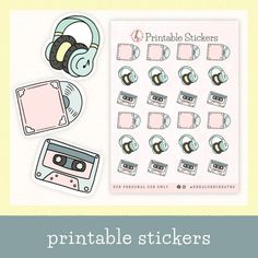 $1.80 · Add a fun vibe to your journal with these Printable 90's aesthetic stickers! Get creative with this pastel vinyl record, cassette tape, and headphones sticker sheet. Perfect for your bullet journal… More Bullet Journal Aesthetic, Bullet Journal Layout, Bullet Journal Inspiration, Journal Stickers, Planner Stickers, Pastel Quotes, 90s Aesthetic, Aesthetic Stickers, Cassette Tape