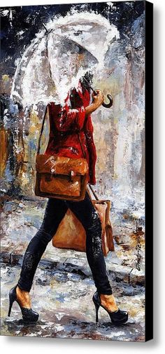 Rainy Day - Woman Of New York 17 Canvas Print / Canvas Art By Emerico Imre Toth