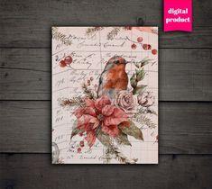 Christmas Scrapbook Paper, Christmas Paper, 4 Image, Junk Journal, Digital Image, Ephemera, Etsy, Articles