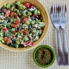 Effie's Easy and Amazing Cottage Cheese Salad with Za'atar from Kalyn's Kitchen. http://punchfork.com/recipe/Effies-Easy-and-Amazing-Cottage-Cheese-Salad-with-Zaatar-Kalyns-Kitchen
