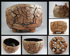 A seat Studio Pottery Handmade Stoneware Bonsai Cactus Succulent Pot, Dark Brown, Signed,001