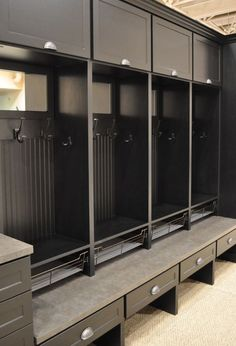 Detailed view of the California Closets mudroom configuration: Modern Shaker style, black mudroom. The baskets on the bench are an interesting idea Mudroom Cubbies, Mudroom Laundry Room, Closet Mudroom, Mud Room Lockers, Closet Shelving, California Closets, Locker Designs, Locker Ideas, Shaker Style