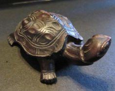 Wooden Turtle, Hand carved Vintage 70's Ebony