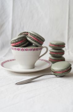 Licorice Macarons with Raspberry Buttercream