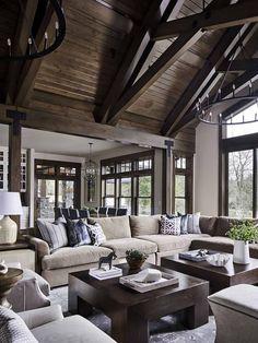 Modern Lodge, Modern Rustic Homes, Country Modern Home, Modern Style Homes, Modern Rustic Interiors, Dream Home Design, Modern House Design, Villa Design, Big Living Rooms