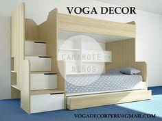 Disfruta en tu hogar de estos diseños modernos en CAMAS y CAMAROTES,ahorra espacio y organiza mas las habitaciones de tus hijos,VOGA DECOR es una empresa que se dedica a fabricar muebles a medida.  Contáctenos: 981539116 (Whatsapp)