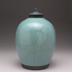 Ceramic lidded jar,urn,Blue Green Raku Jar with lid,large urn, large jar, art pottery,wheel thrown,handmade