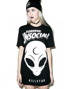 #DollsKill #lookbook #photoshoot #model #Killstar #unsocial #tshirt #alien