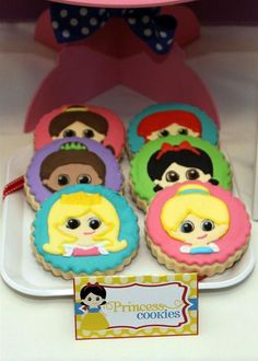 What cute cookies at a Princess party!  See more party ideas at CatchMyParty.com!  #partyideas #princess