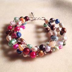 Multi color freshwater pearl bracelet  by azCreationsByAlyssa