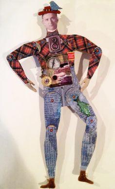Art sample by Diana Darden using Male Articulated Art Doll Shrine Kit from www.RetroCafeArt.com