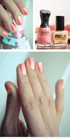 Orange/Pink Ombre nails...Use a triangular make up sponge. Soak it in some water then paint one side with whichever colors you'd like to have, then dab onto your nail :)