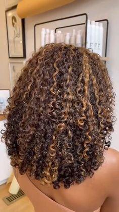 Honey Brown Hair, Brown Curly Hair, Colored Curly Hair, Hair Color For Black Hair, Short Curly Hair Black, Mixed Curly Hair, Brown Curls, Blonde Highlights Curly Hair, Blonde Curly Hair